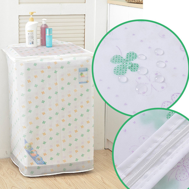 PEVA Sunscreen Dust Proof Cover Washing Machine Cover Waterproof Case Washing Machine Protective Dust Jacket Front Top Open 1PC 4