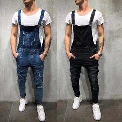 2020 New Fashion Men Ripped Jeans Distressed Denim Overalls Men Carpenter Pants Suspender Pants Big Size S-3XL Hot Sale LF828