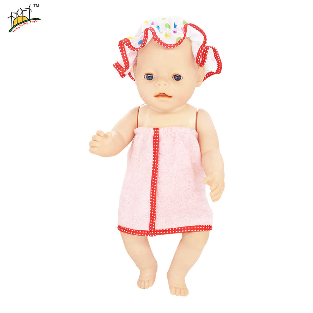 2 Colors Baby Doll Hooded Bath Towel Fit 43cm Baby Reborn Doll Blanket Split & 18 inch Dolls Accessories GCD-17AB