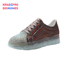 Krasovki Genuines Sneakers Women Fashion Dropshipping Solid Flat Bottom Crystal Bling Breathable Lace Leisure Shoes