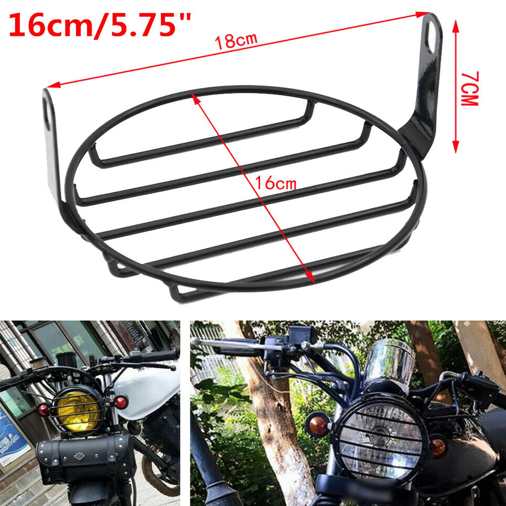 5 75inch Motorcycle Scooter Front Headlight Mesh Grill Retro Guard Lamp Cover Metal Motorcycle Headlight Cover