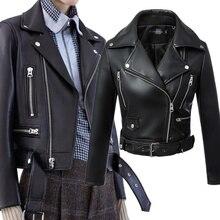 New Autumn Winter Women Black Faux Leather Jackets Zipper Basic Coat Turn-down Collar Motor Biker Jacket With Belt