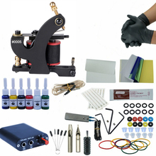 Single Tattoo Machine Complete Tattoo Kit for Beginner Coil Machine 6 Color Inks Power Supply Grips Needles Set professional tattoo kit rotary machine guns needles beginner kit inks set tattoo power supply