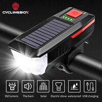 CyclingBOX 경적을 가진 자전거 정면 빛 태양 USB 위탁 3 개의 형태 T6 LED 플래쉬 등 자전거 부속품 밤 승차 헤드 라이트