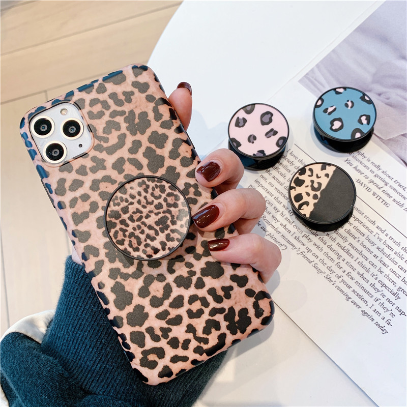 Cute Cartoon Folding Stand For Mobile Phone Holder For Iphone 7 Plus 11 Pro For Huawei For Samsung Luxury Leopard Grip Kichstand