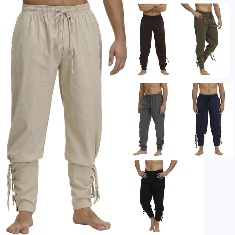 Men/'s Medieval Lace Pants Pirate Pants Cosplay Costume Viking Pants