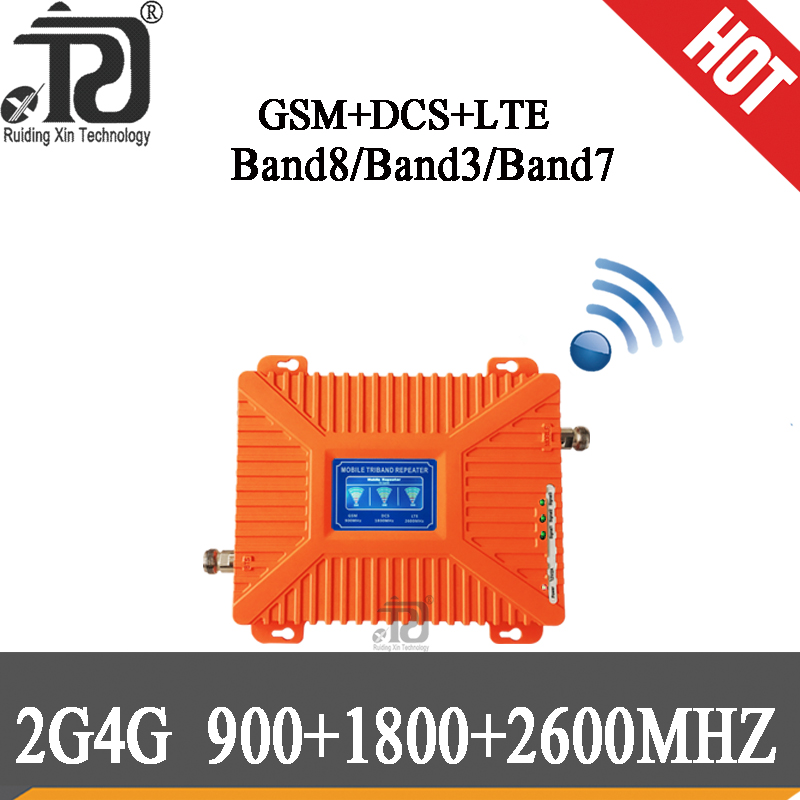 Powerful!!2G 3G 4G Data Tri Band Signal Repeater GSM 900 DCS 1800 FDD LTE 2600 Cellular Signal Booster Mobile Amplifier