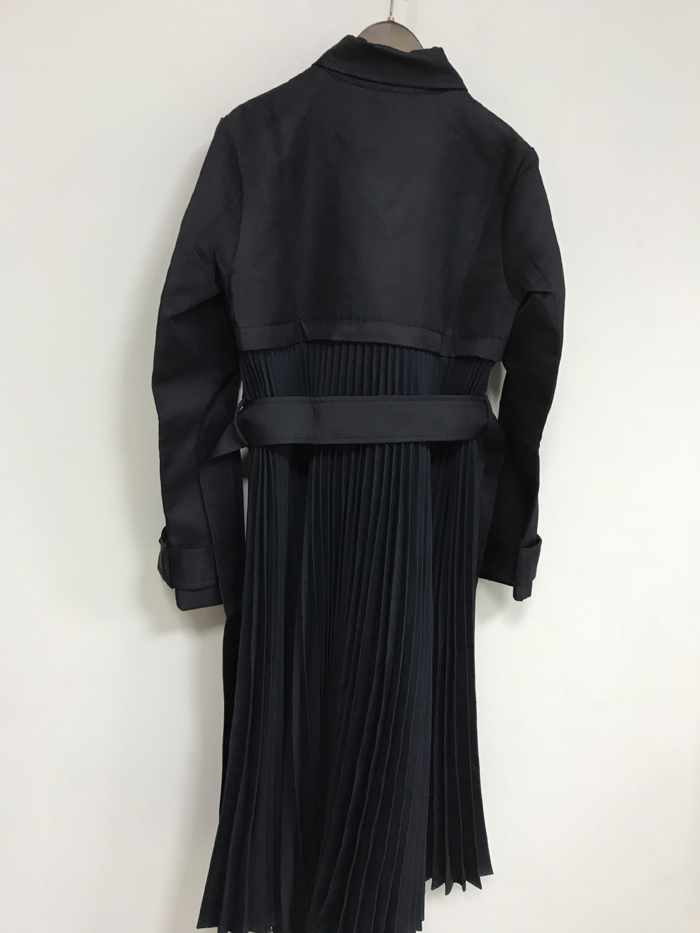 Image 4 - Women Trench 2019 Autumn and Winter New Temperament Pleated Stitching Tie Bow Windbreaker JacketTrench