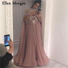 Elegante Arabisch High Neck Abendkleider 2020 Bodenlangen Kristall Zipper Plus Größe Vintage Muslimischen Formale Abendkleider Cape