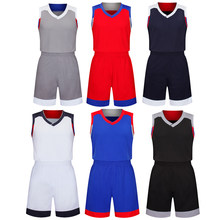 Men blue Basketball Set Uniforms kits Sports clothes kids red basketball jerseys college tracksuits DIY Customized name logo(China)