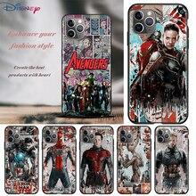 Avengers superbohaterowie dla Apple iPhone 12 11 Pro Max mini XS Max XR X 8 7 6 6S Plus 5S SE 2020 miękki czarny futerał na telefon