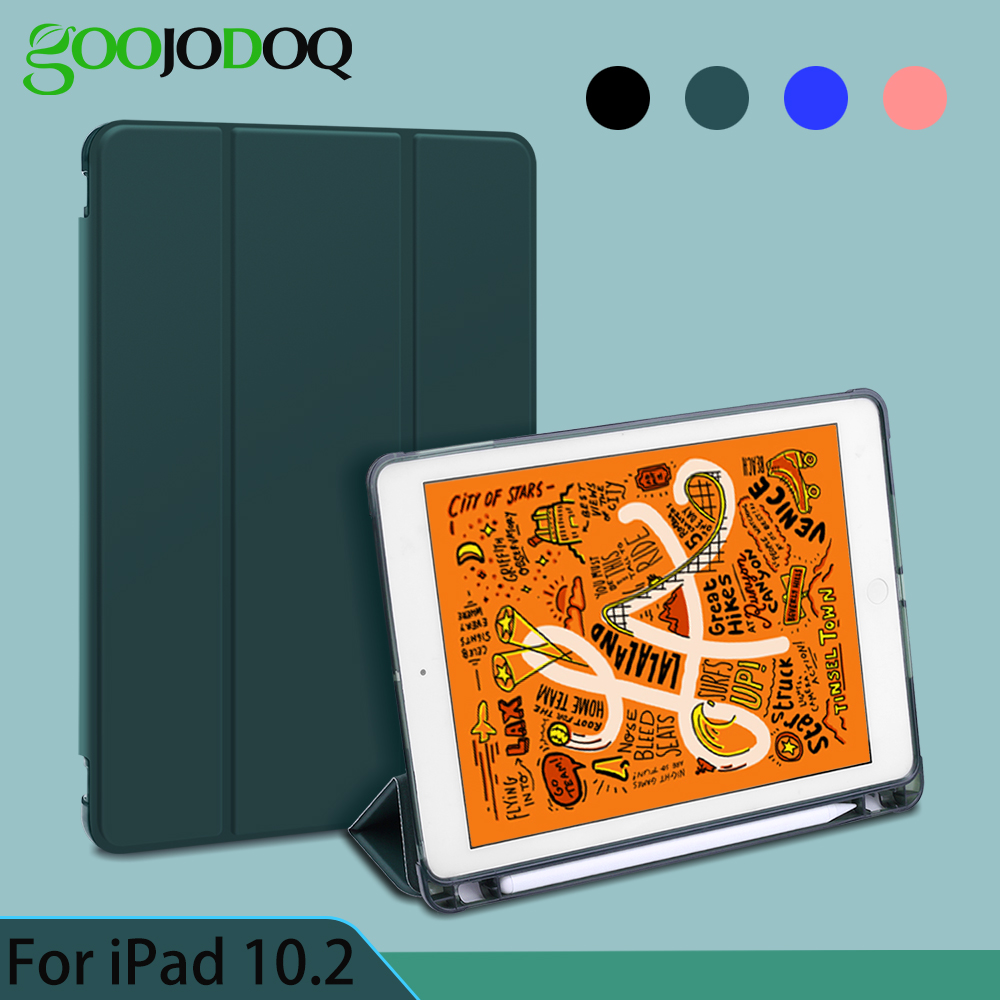 For IPad 10.2 Case With Pencil Holder For IPad 7th Generation Case TPU Soft Silicone Shell Full Protect Cover Auto Sleep/Wake