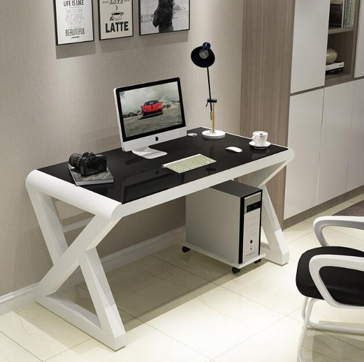 EU RU Free Shipping Tempered Glass Computer Desk Home Office Simple Modern Desk Desktop Study Desk Office Desk Gaming Table