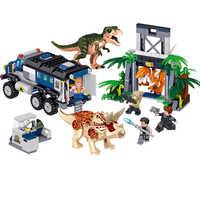 Jurassic Welt Park serie Dinosaurier off-road fahrzeug Raptor Triceratops Bausteine Sets Ziegel Kinder Kits Kompatibel