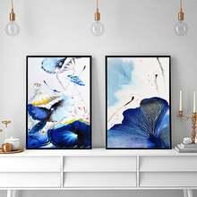 Абстрактная синяя Акварельная печать художественная настенная