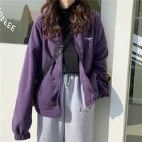 Sudaderas con cremallera para mujer, chaqueta informal con bolsillos y letras, ropa de calle Coreana de manga larga de gran tamaño, Otoño e Invierno
