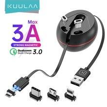 KUULAA 3 w 1 kabel magnetyczny kabel USB typu C Micro szybkie ładowanie dla iPhone 12 Mini 11 Pro Max chowana ładowarka danych USB C