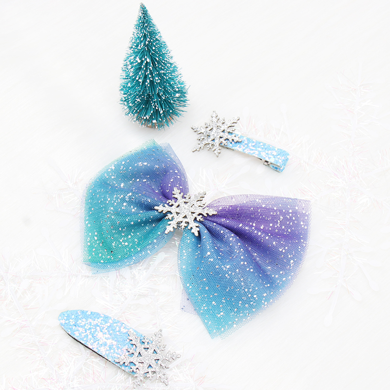 3Pcs Christmas BB Hairgrips For Girls Net Yarn Hair Bows With Snowflake Glitter Hairpins Starry Sky Barrettes Hair Accessories