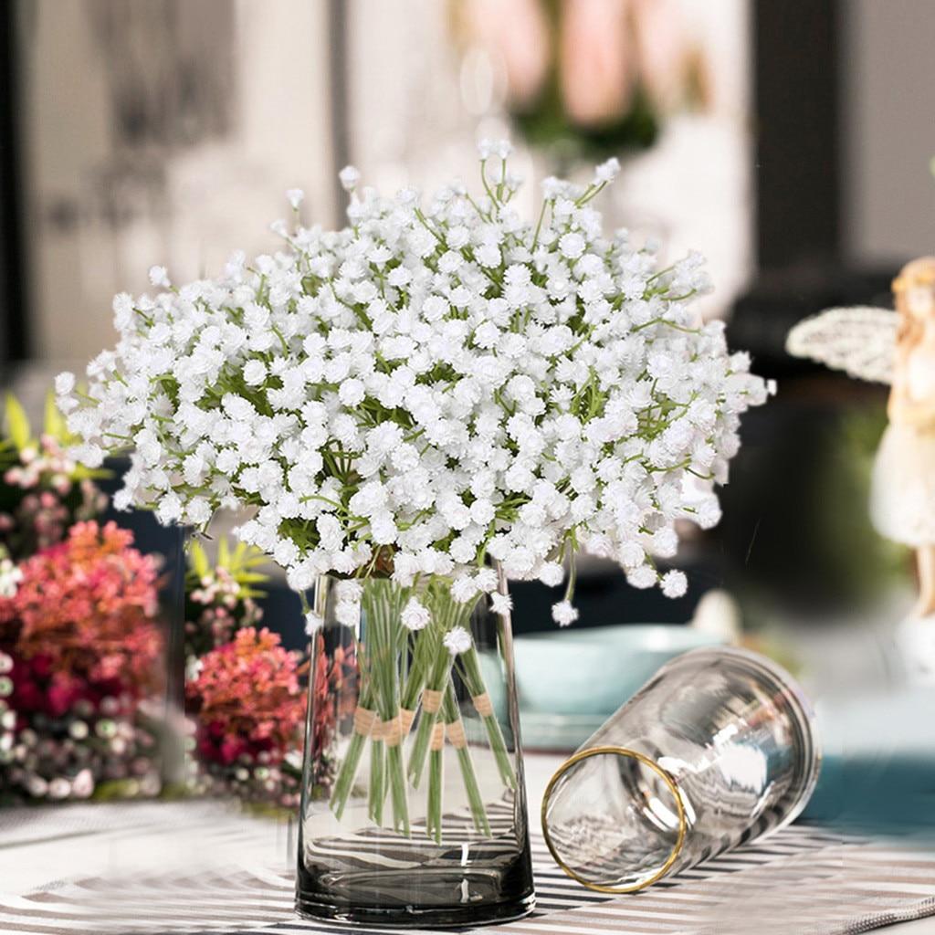 # H artificielle gypsophile fleur fausse soie Mariage fête Bouquet décor à la maison en plastique tige mariée Mariage Bouquet Mariage cerise