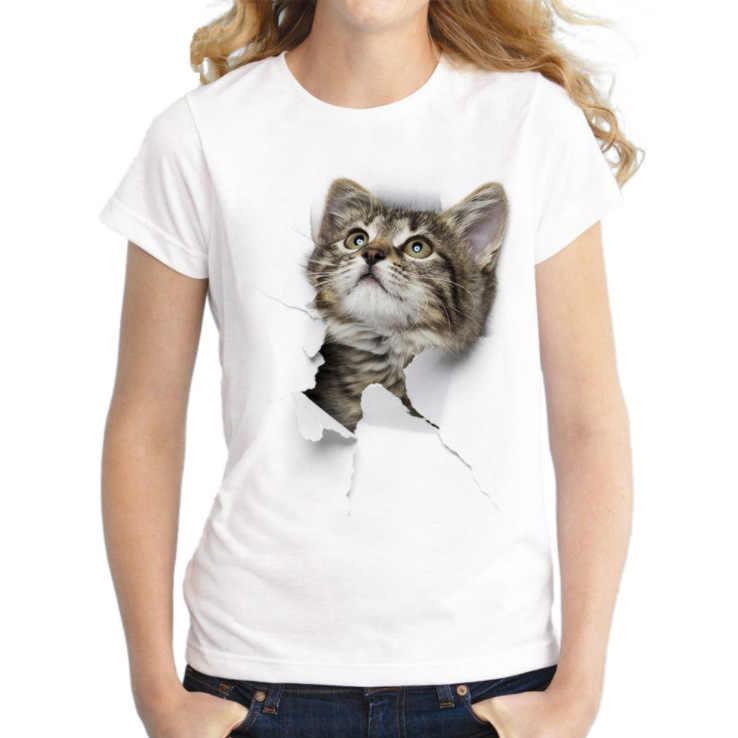 3D In Hình Mèo Cổ Bông Tai Kẹp Áo Thun Nữ Mùa Hè Thun Cổ Tròn Quần Áo Giá Rẻ Hàng Đầu Trung Quốc