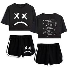 New Lil Peep Women Two Piece Set cool Summer Crop Tops & Shorts Kpop Sexy Streetwear Fans Hip Hop summer girls sexy suit Clothes