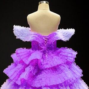 Image 5 - J66905 Jancemberดอกไม้สาวชุด 2020 สีม่วงVคอหมวกชั้นหญิงชุดราตรี Платье Для Девочек Communie Jurk
