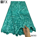 HFX High Quality African Lace Fabric Swiss voile lace in Switzerland French 100% Pure Cotton 5yard for Wedding Party Dress H4763