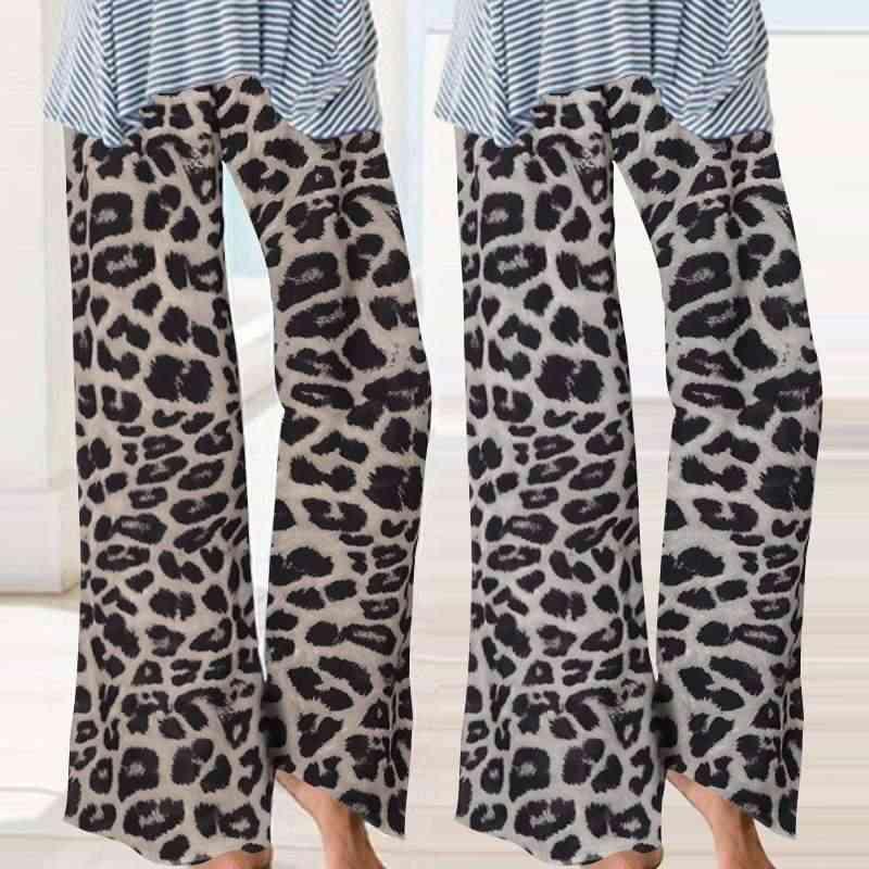 Celmia Vintage Luipaard Gedrukt Wijde Pijpen Broek Vrouwen Hoge Taille Losse Palazzo Elegant Office Lady Broek Plus Size Pantalon 5XL