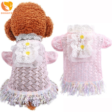 2020 Summer Dog Dress Pink Sweety Lace Princess Pet Cat Clothes for Small Wedding Puppy Clothing Chihuahua