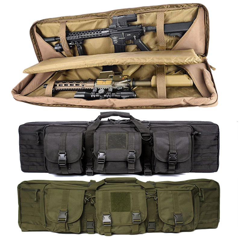 Military 36 Inch Double Rifle Gun Bag Carbine Backpack For M4 AK47 Airsoft Bag Portable Shooting Gear Protective Hunting Holster