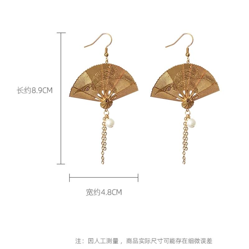 New Gold Color Tassel Earring Long Dangle Vintage Fan Girl Simulate Pearl Pendientes Luxury Elegant Engagement Female Gift EF54