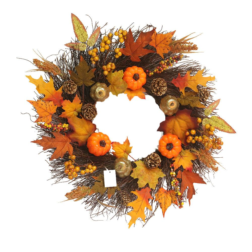 45cm Halloween Wreath Artificial Maple Leaf Pumpkin Wreath Halloween Door Decoration Thanksgiving Autumn Wreath