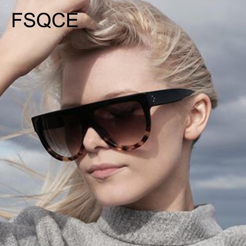 Oversized Sunglasses Fashion Sunglasses Women Flat Top Style Brand Design Vintage Sun Glasses Female Big Frame Shades Plus Size