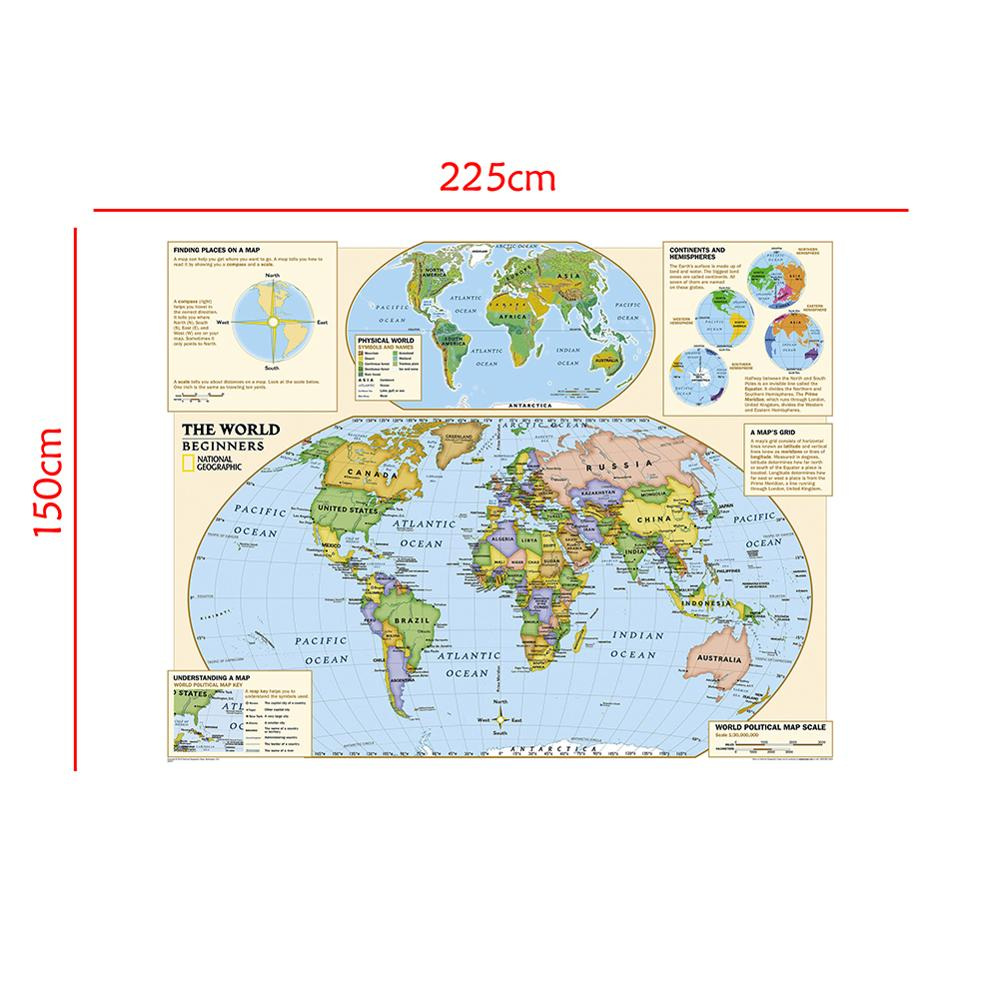 150x225cm Non-woven Foldable World Physical Map With Detailed Label Without National Flag For Beginner