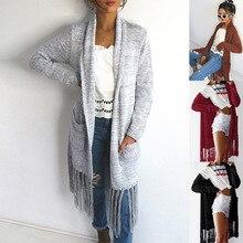 Women's Knitted Coat Long Sleeve Open-Front Cardigan Pocket Knit Cashmere Sweater Tassel Women Long Knit Coat open front plaid knit cardigan