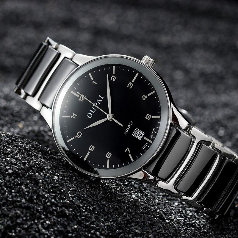 Relógio de Cerâmica Relógio de Negócios Resistência à Água Oupai Nova Moda Preto Luxo Homem Esportes Vere Masculino Data Quartzo Ra80051do 2020