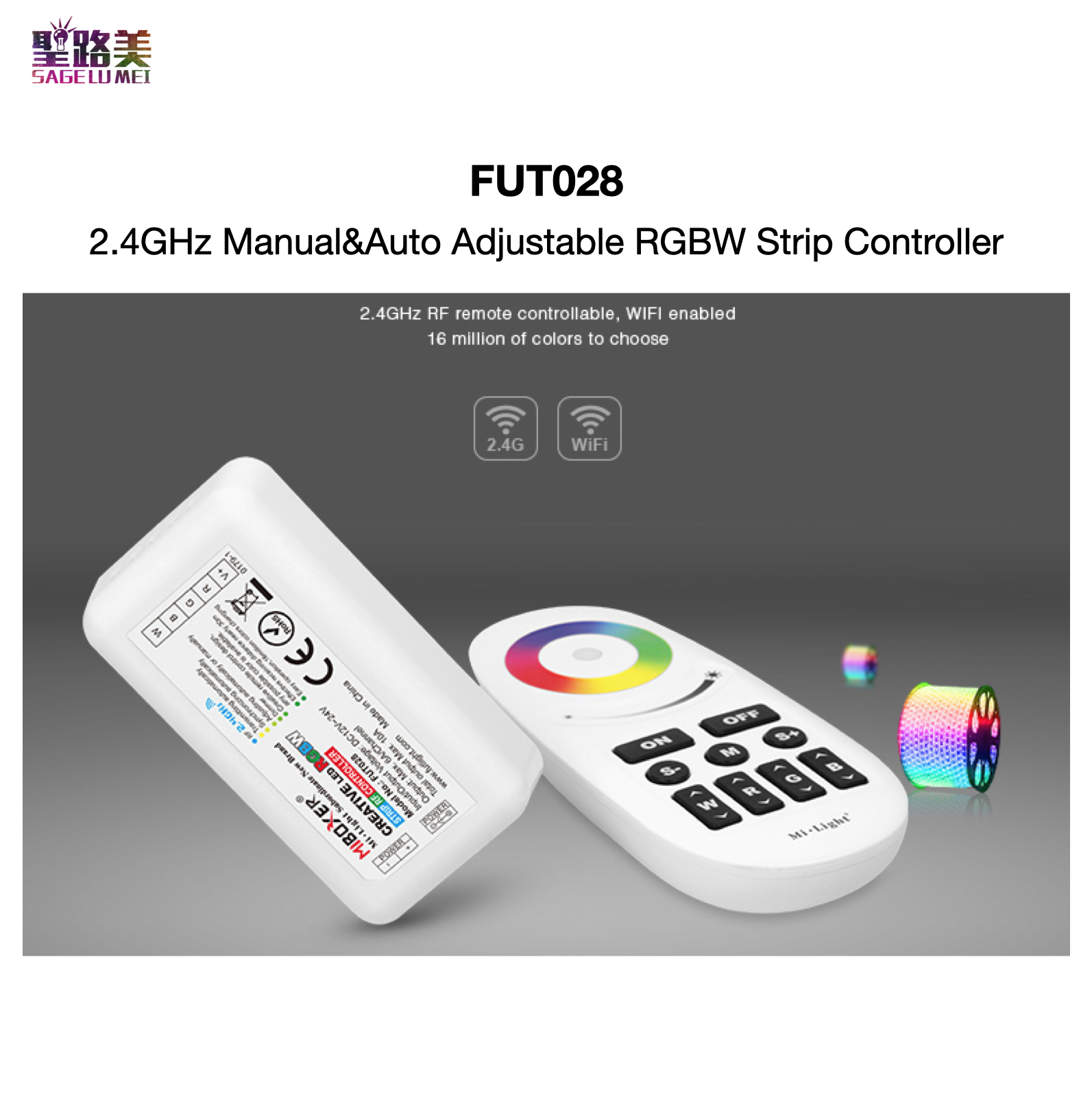 <font><b>FUT028</b></font> 2.4GHz Manual & Auto Adjustable RGBW Strip Controller 2.4GHz RF for RGBW LED Strip Lights / LED Module MiBOXER Mi-Light image