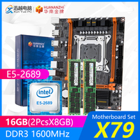 HUANANZHI X79 Motherboard Set X79-4M REV2.0 M.2 MATX With Intel Xeon E5-2689 2.6GHz CPU 2*8GB (16GB) DDR3 1600MHz ECC/REG RAM