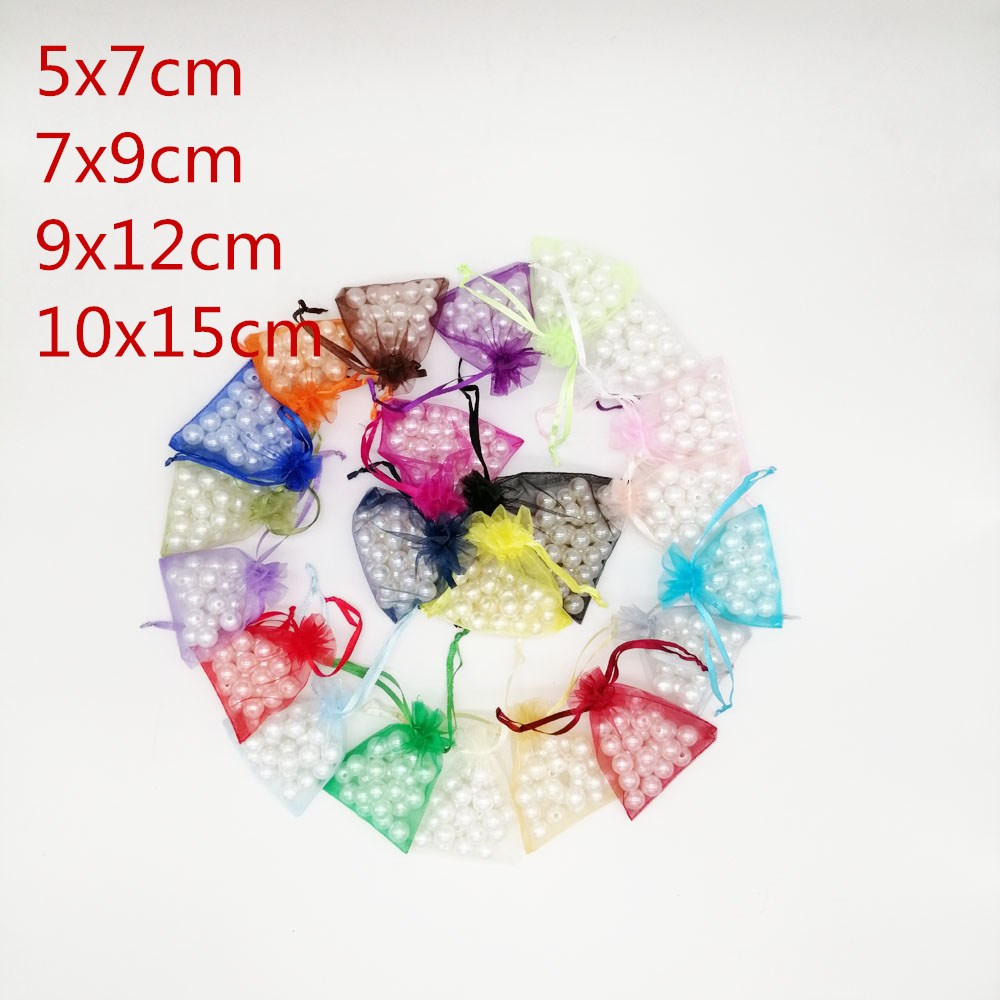 100pcs 5x7 7x9 9x12 10x15 Jewellery Bag Organza Jewelry Bags Jewelry Packaging Drawstring Gift Packaging For Jewelry Pouches
