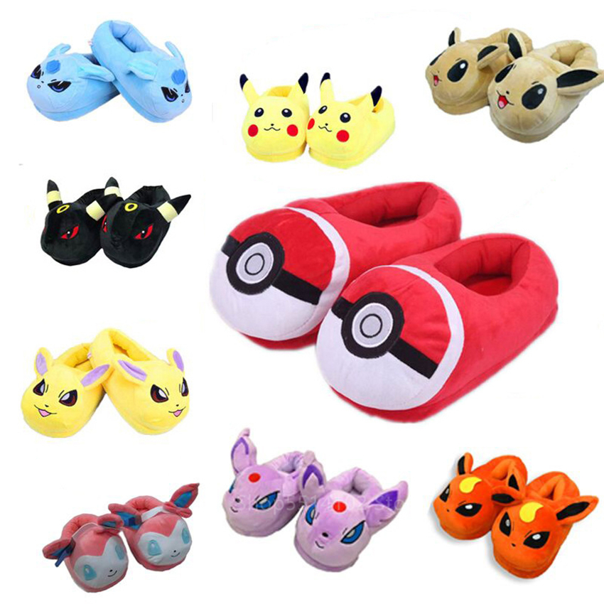 2020 Unisex Cartoon Cotton Slippers For Adult Anime Pokemon Cute Pikachu Eevee Home Pajamas Shoes Winter Warm Plush Indoor Shoes