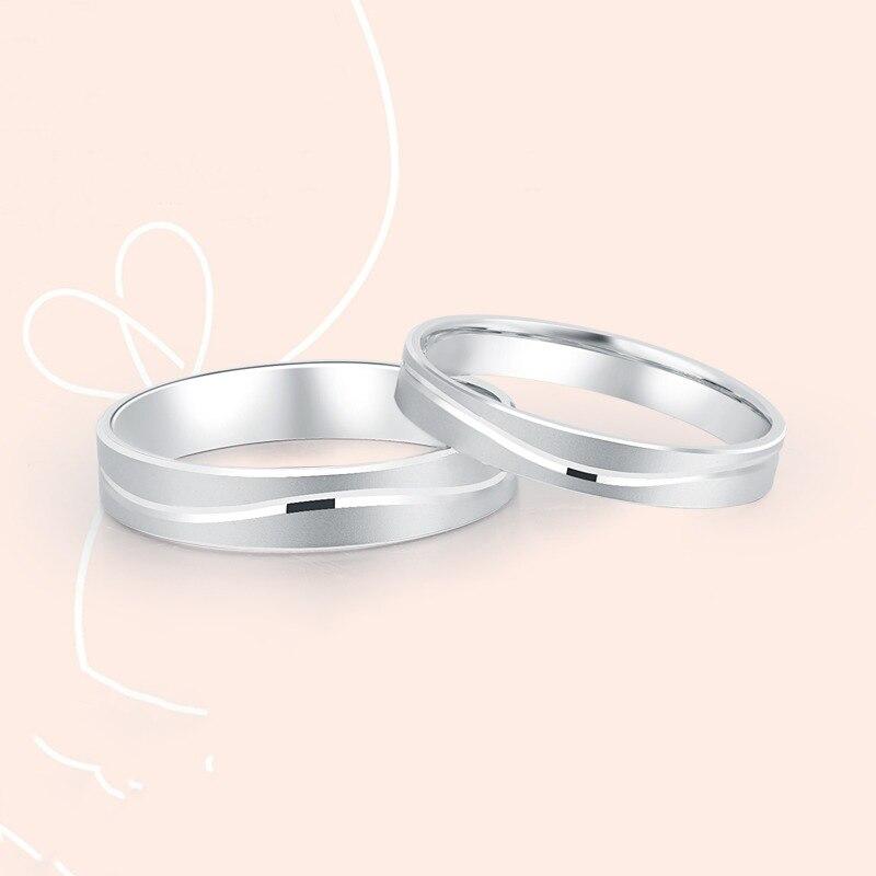Platine blanc véritable or massif véritable PT950 mariage fiançailles Propose des bagues bandes pour femmes hommes Couple bijoux de mariage fantaisie - 2