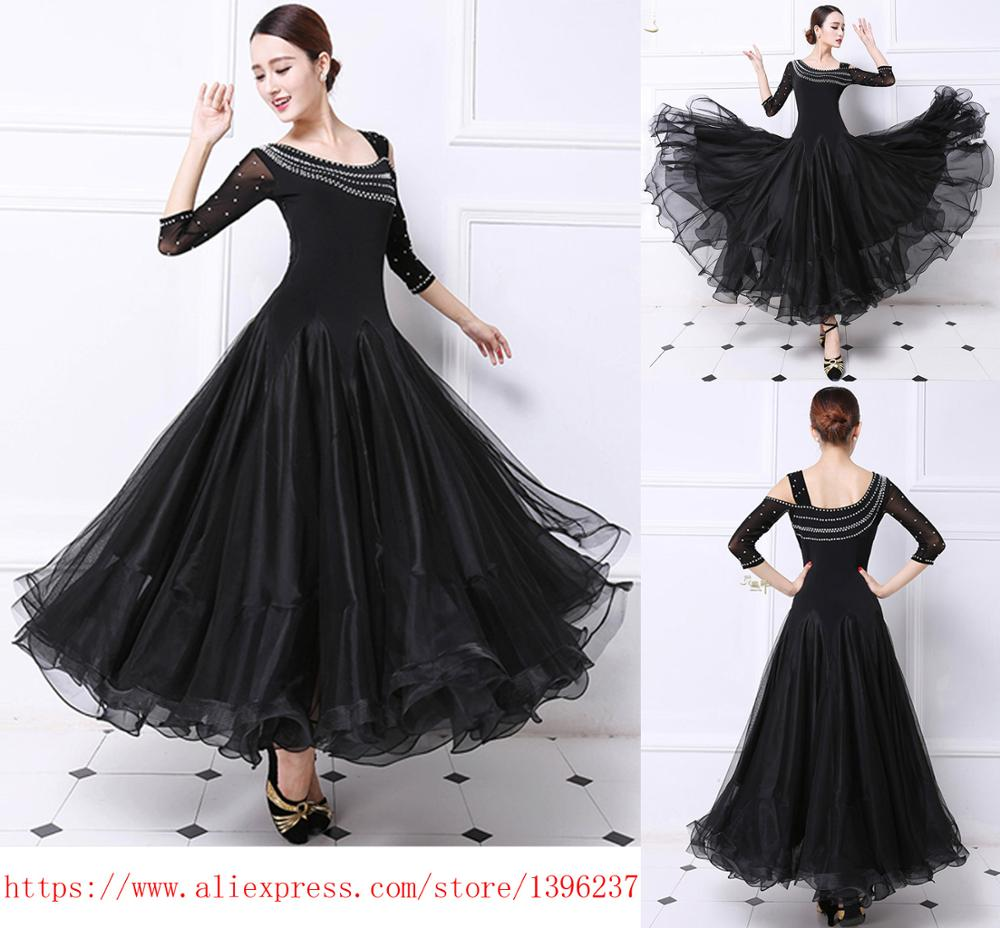 Ballroom Competition Dance Dress Women Tango Flamenco Dancing Costume High Quality Black Middle Sleeve Waltz Ballroom Dresses