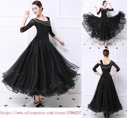 Ballroom Competition Dance Dress Women Tango Flamenco Dancing Costume High Quality Black Middle Sleeve Waltz Ballroom Dresses
