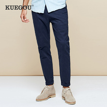 Black Trousers Overalls KUEGOU Pants Spring Straight Men's Cotton Spandex Casual Size-Ak-9790