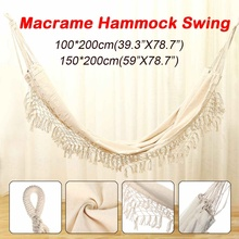 2-Person Hammock Swing-Chair Macrame Indoor Brazilian Fringed Hanging Style Deluxe Large