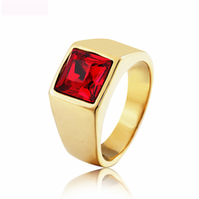 New Square Color Big Crystal jewelry Rings 316L Titanium Steel Rock Punk Style Ring Casting For Man Party Gifts