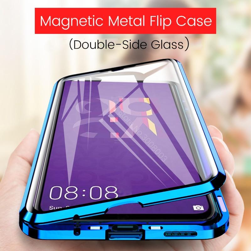 Honor 20 caso em honra 20 pro 20pro metal magnético caso da aleta para huawei nova 5 t 5 t nova 5 t 360 ° de vidro de dupla face capa traseira