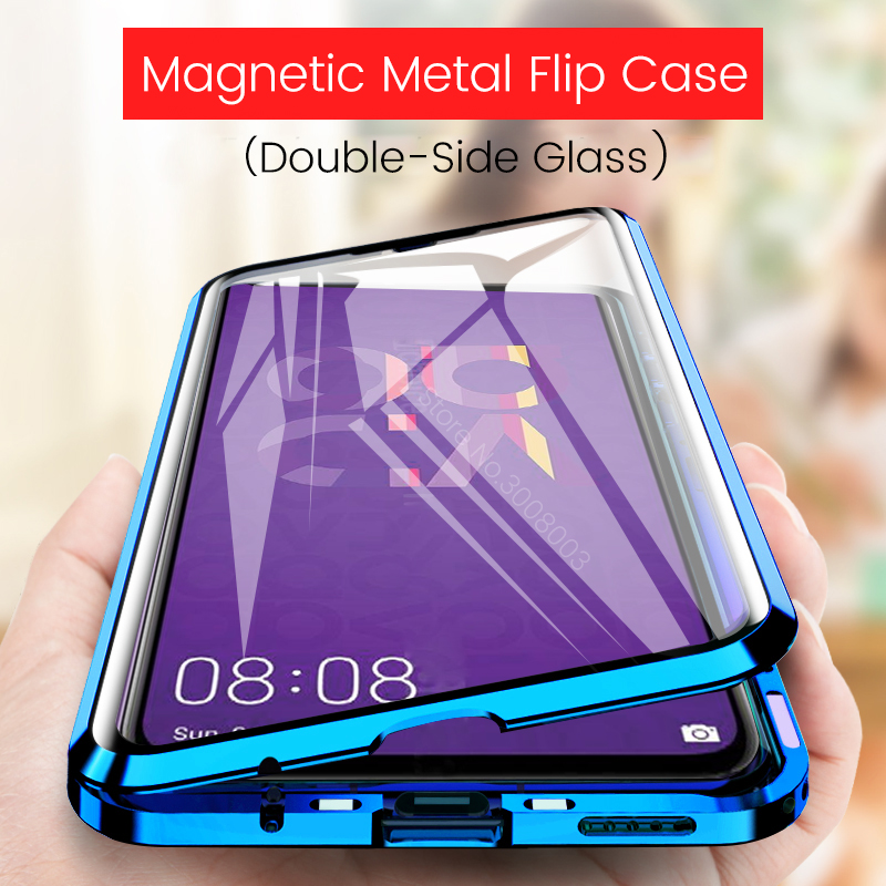 honor20 case on honor 20 pro 20pro magnetic metal flip case for huawei nova 5t 5 t nova5t 360° double-sided glass back cover image