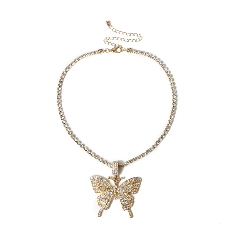 Stonefans Statment Big Butterfly Pendant Necklace Rhinestone Chain for Women Bling Tennis Chain Crystal Choker Necklace Jewelry 6
