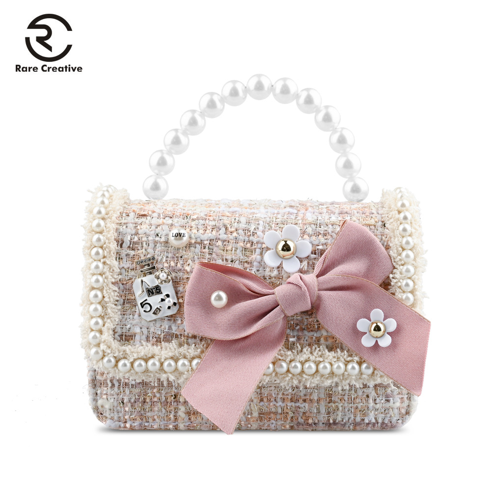 RARE CREATIVE Bow Casual Pearl Handbags High Quality Lovely Messenger Bags Flowers Letter Women Flap Bag Bolsa Feminina HM6003